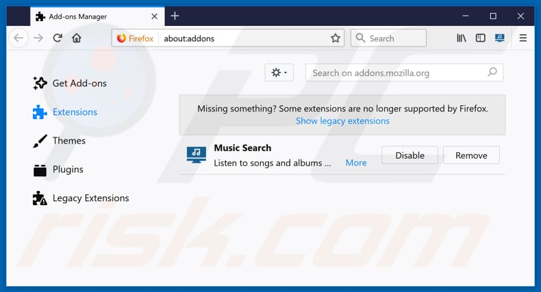 Removing music.searchmedia.club related Mozilla Firefox extensions