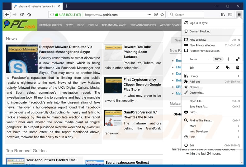 Removing rogue extensions from Mozilla Firefox step 1