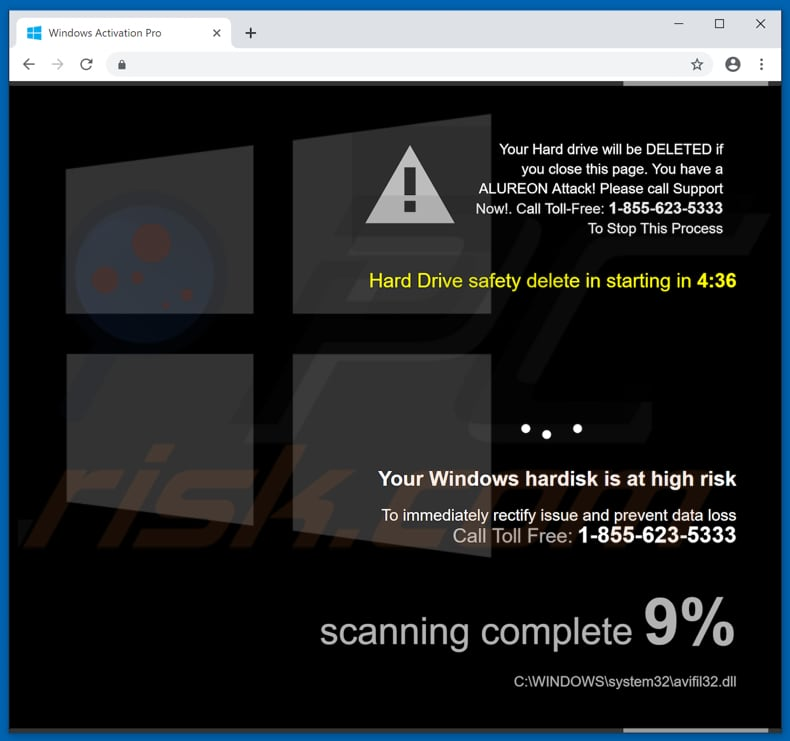 Windows hard disk is at high risk scam