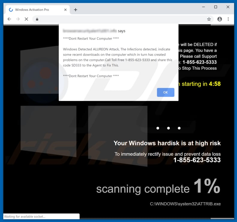 pop-up window by windows hard disk is at high risk scam page
