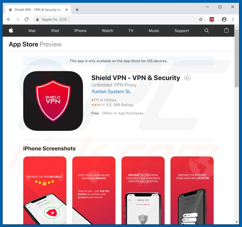 Shield VPN app promoted through a scam website