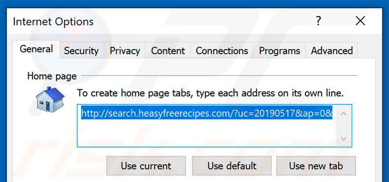 Removing search.heasyfreerecipes.com from Internet Explorer homepage