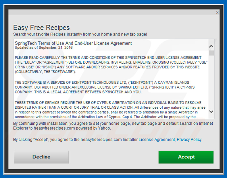 Official Easy Free Recipes browser hijacker installation setup