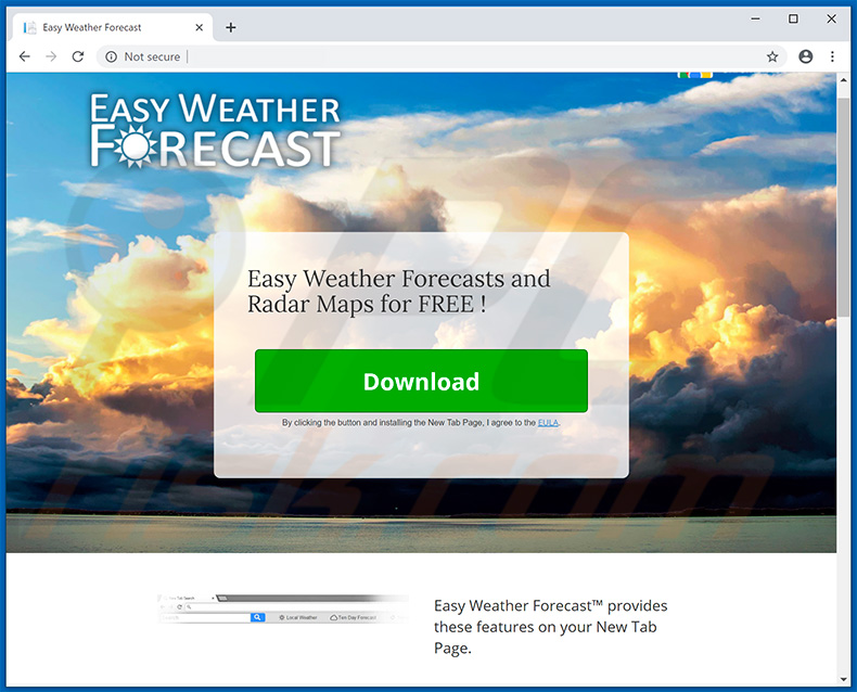 Website used to promote Easy Weather Forecast browser hijacker