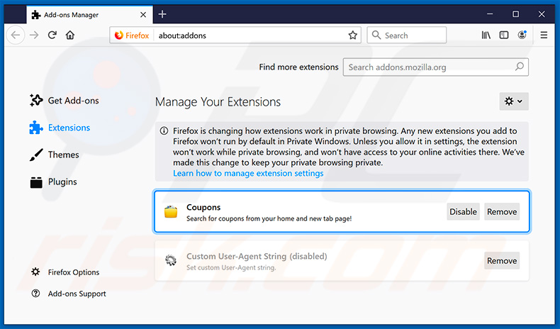 Removing search.hgetcouponsnow.com related Mozilla Firefox extensions