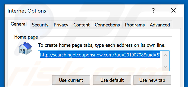Removing search.hgetcouponsnow.com from Internet Explorer homepage