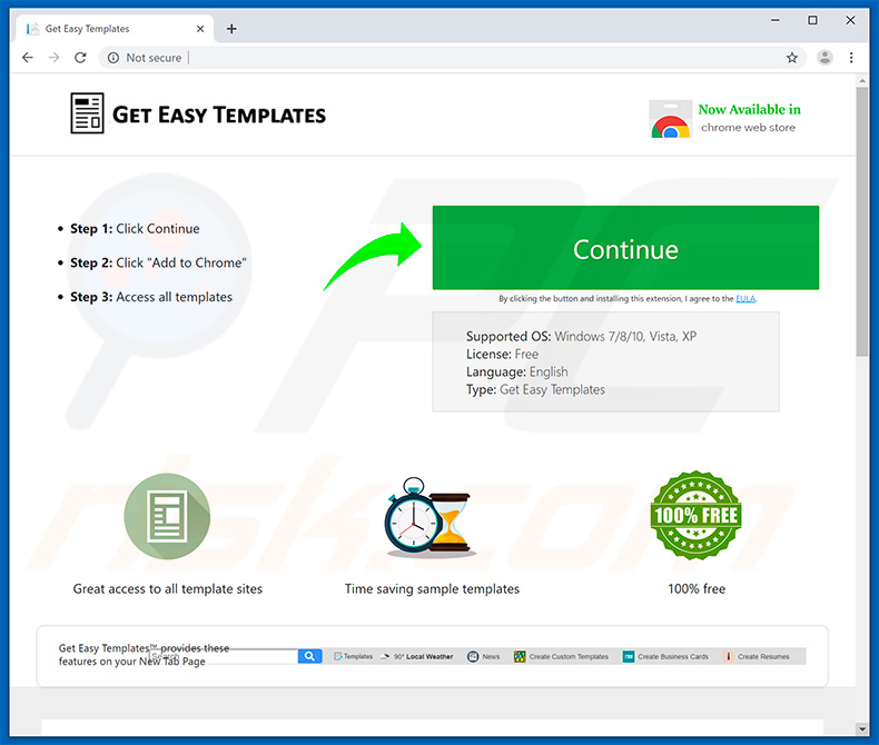 Website used to promote Get Easy Templates browser hijacker