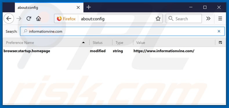 Removing informationvine.com from Mozilla Firefox default search engine