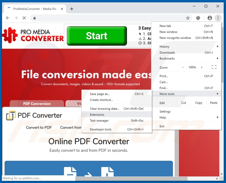 Removing ProMediaConverter  ads from Google Chrome step 1