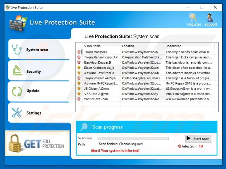 fake antivirus program called live protection suite