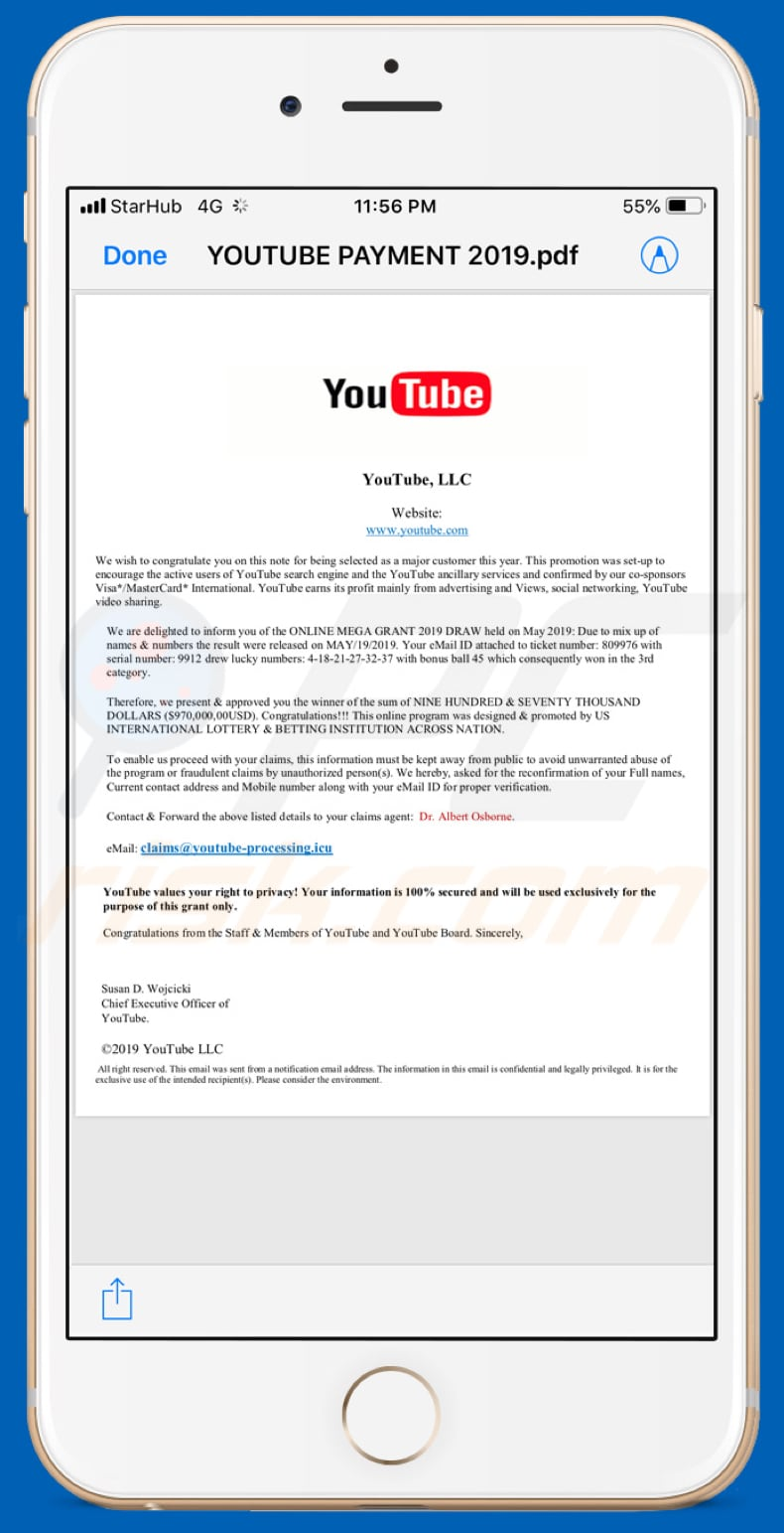 How to get rid of Youtube Lottery Email Scam (Mac) - virus removal