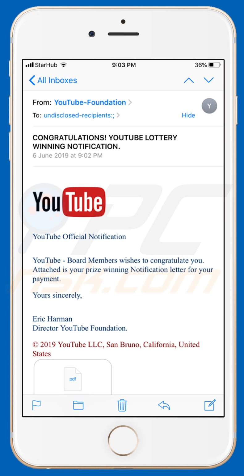 Youtube Lottery scam