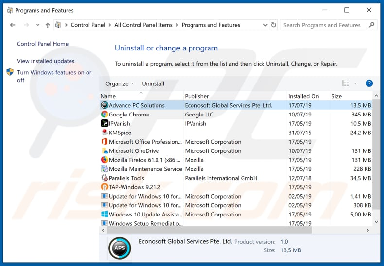 Advance PC Solutions adware uninstall via Control Panel