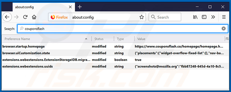 Removing couponsflash.co from Mozilla Firefox default search engine