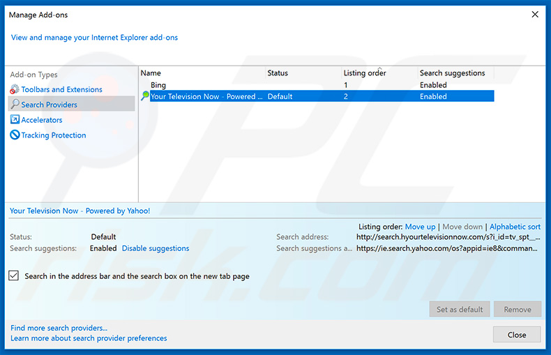 Removing couponsflash.co from Internet Explorer default search engine