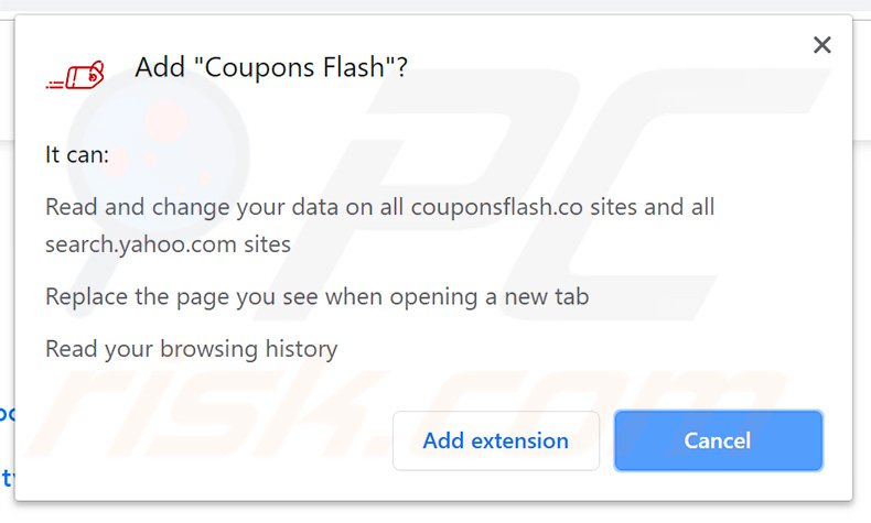 Official Coupons Flash browser hijacker asking for permissions