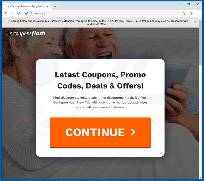 Website used to promote Coupons Flash browser hijacker