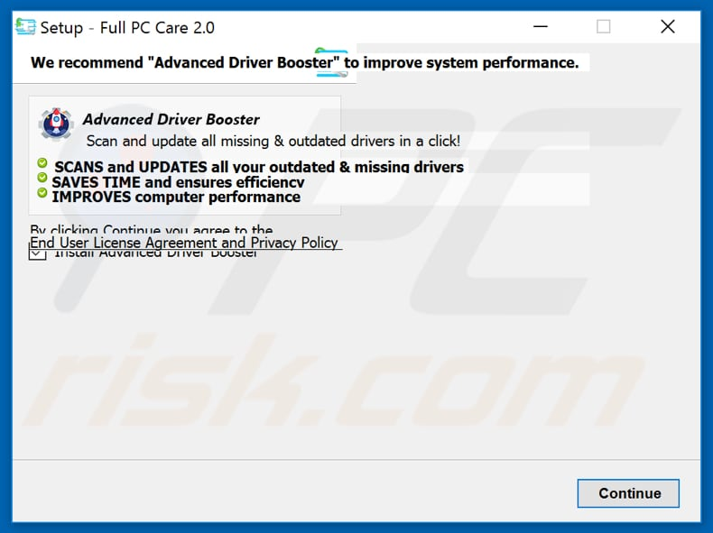 Advanced Driver Booster included in Full PC Care 2.0 setup