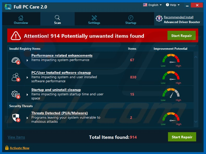 Full PC Care 2.0 unwanted application
