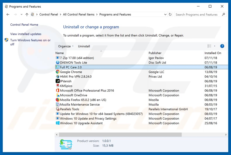 Full PC Care 2.0 adware uninstall via Control Panel