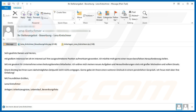 GermanWiper ransomware spreading spam email