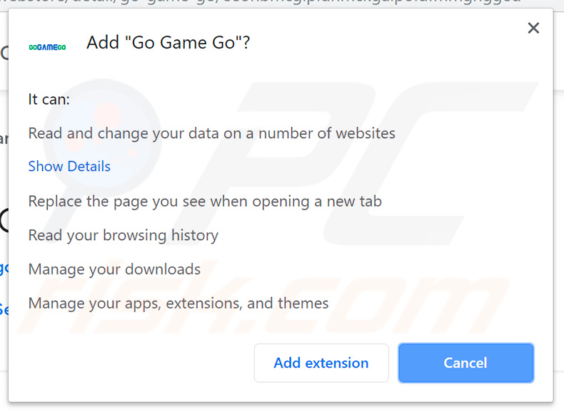 GoGameGo browser hijacking asking for permission