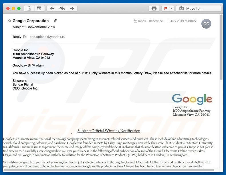 Google Winner email spam campaign