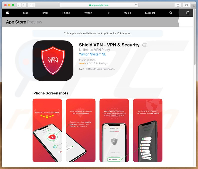 Your Apple iPhone Is Severely Damaged promoting Shield VPN unwanted application