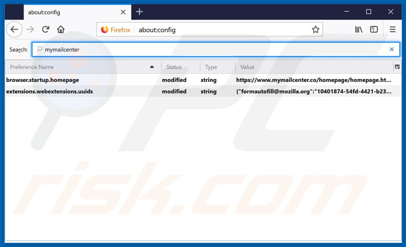 Removing mymailcenter.co from Mozilla Firefox default search engine