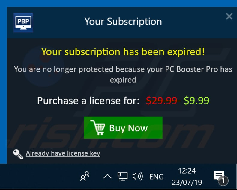 pop-up enabled by pc booster pro unwanted app