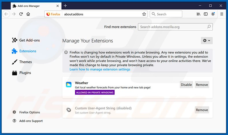 Removing search.quickweathersearch.com related Mozilla Firefox extensions