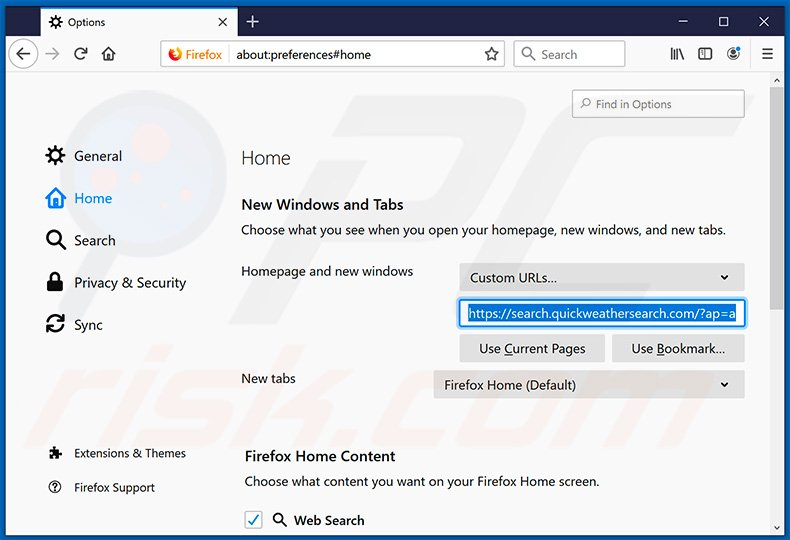 Removing search.quickweathersearch.com from Mozilla Firefox homepage