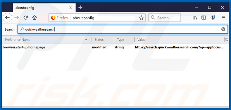 Removing search.quickweathersearch.com from Mozilla Firefox default search engine