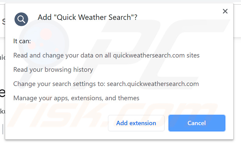 Quick Weather Search browser hijacker permissions