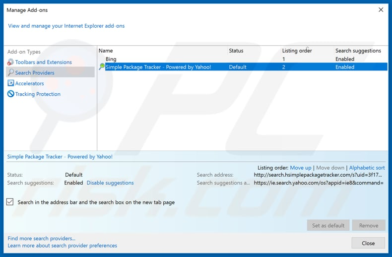 Removing search.hsimplepackagetracker.com from Internet Explorer default search engine