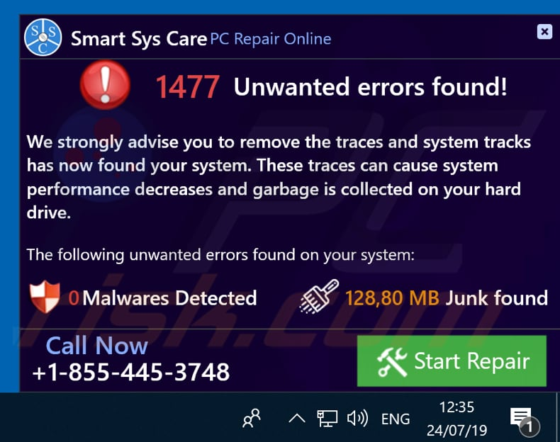 Smart Sys Care shows a pop-up window