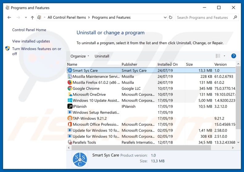 Smart Sys Care adware uninstall via Control Panel