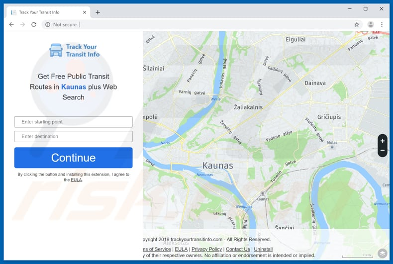 Website used to promote Track Your Transit Info browser hijacker