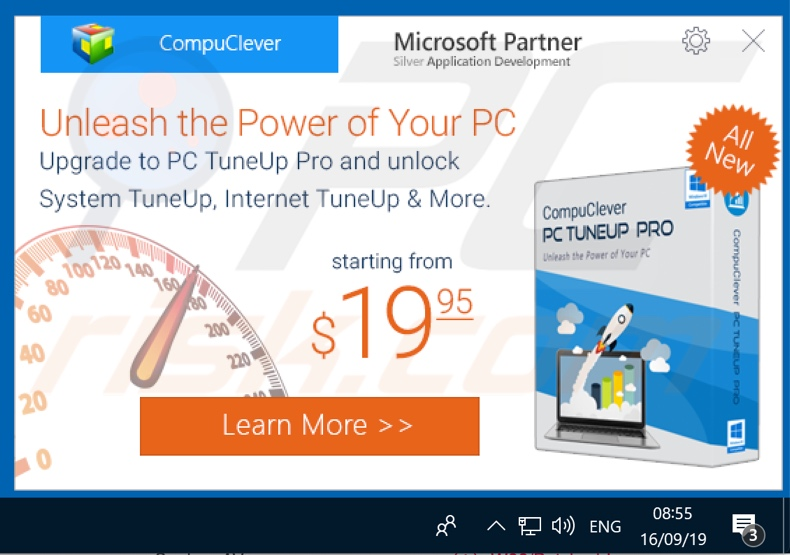 CompuClever PC TuneUp upgrade purchase pop-up window