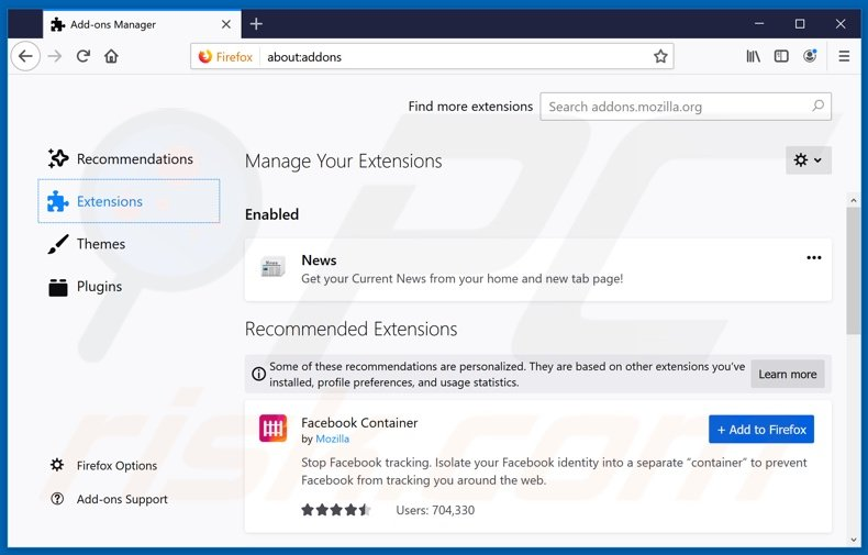 Removing search.currentandbreakingnewstab.com related Mozilla Firefox extensions