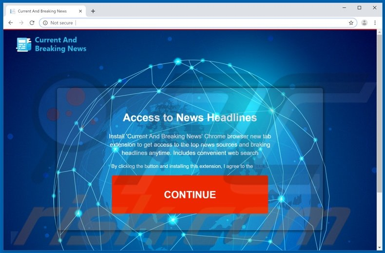 Website used to promote Current & Breaking News browser hijacker