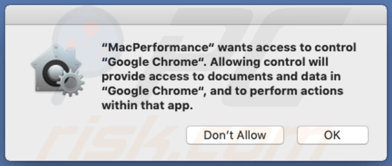MacPerformance wants to access Chrome and to control it