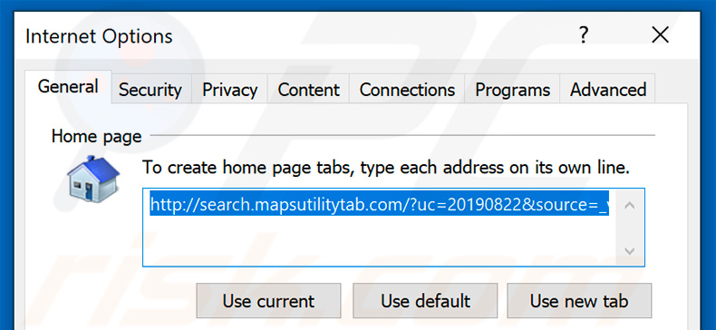 Removing search.mapsutilitytab.com from Internet Explorer homepage
