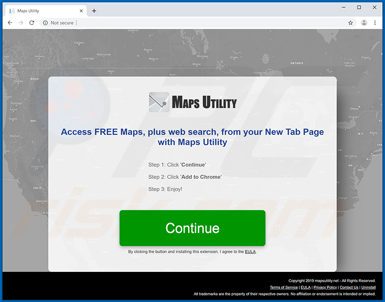 Website used to promote Maps Utility browser hijacker