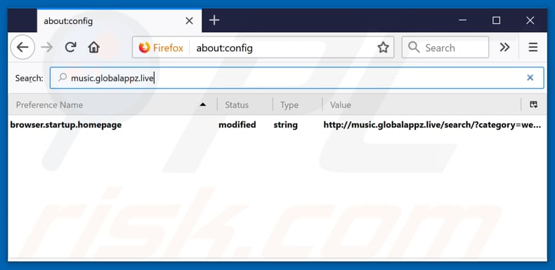 Removing music.globalappz.live from Mozilla Firefox default search engine