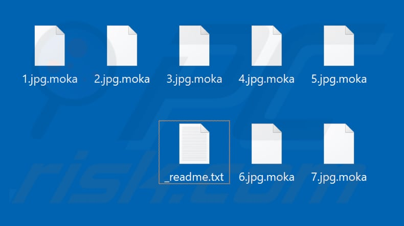 Files encrypted by Moka