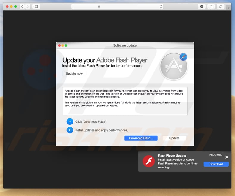 fake flash player updater distributing adware from Pirrit family