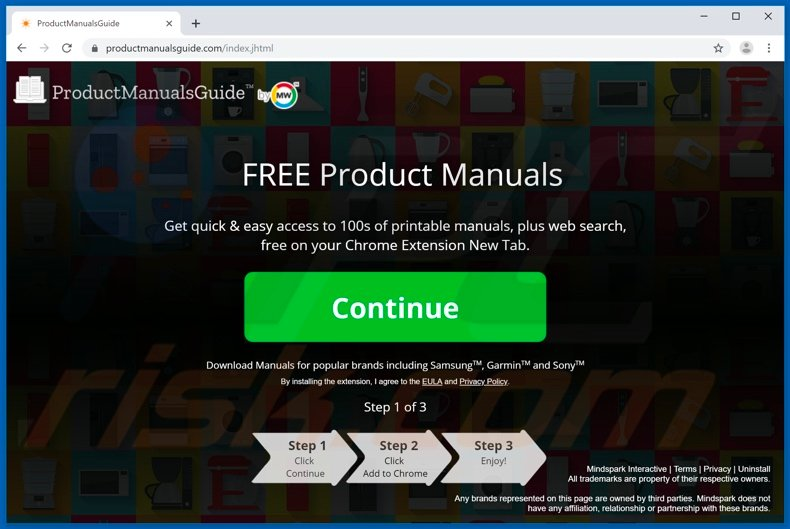 Website used to promote ProductManualsGuide browser hijacker