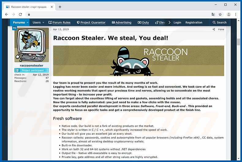 Developers promoting Raccoon Stealer in hacker forum