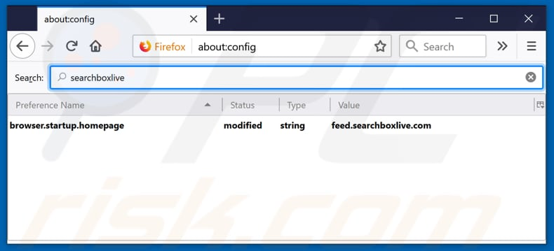 Removing feed.searchboxlive.com from Mozilla Firefox default search engine